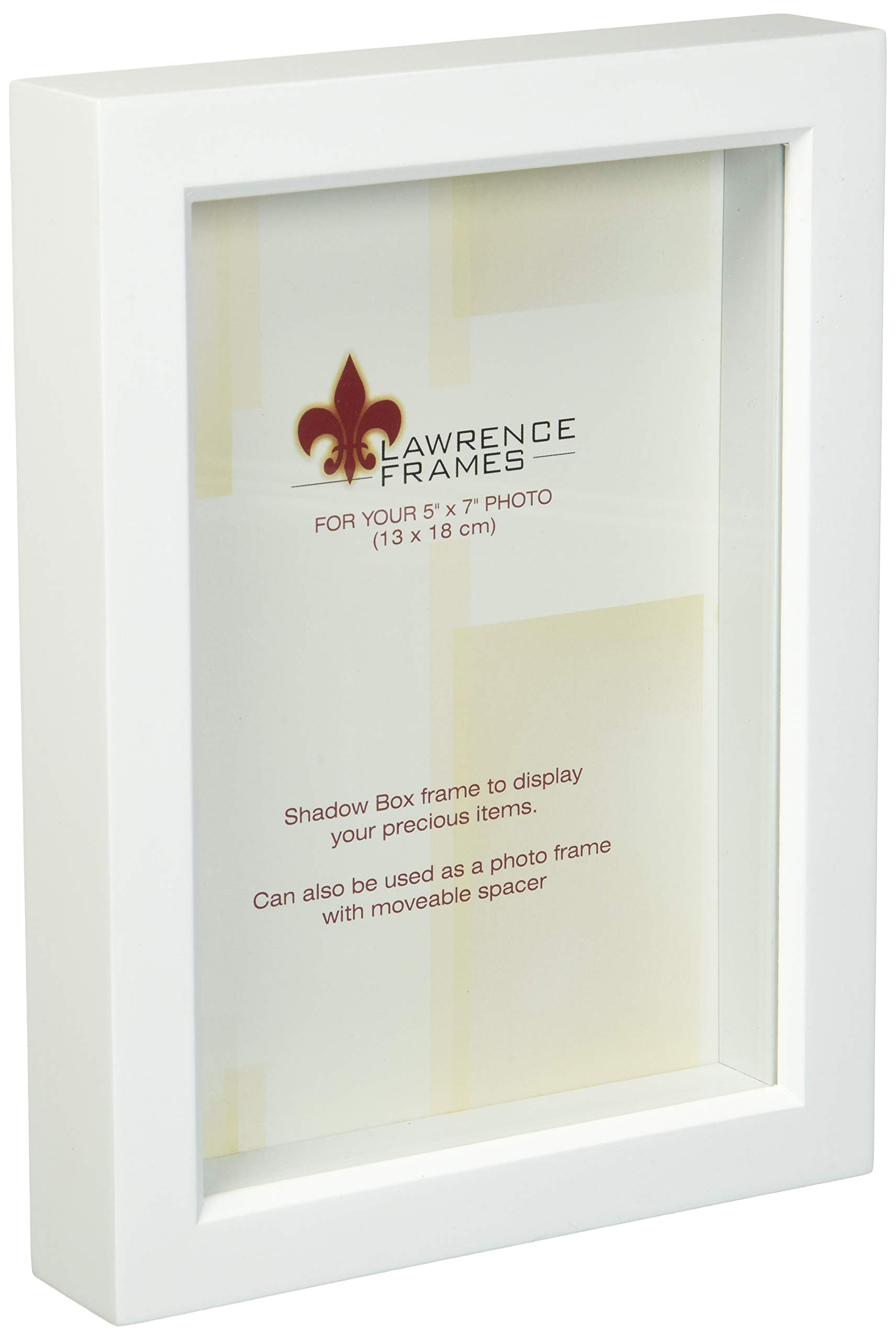 Lawrence Frames 795257 White Wood Treasure Box Shadow Box Picture Frame, 5 by 7-Inch