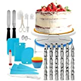 Decdeal 106Pcs Cake Decorating Supplies Kit Baking Fondant Tool Set Turntable Piping Bag Tip Pen Spatula DIY Cake…