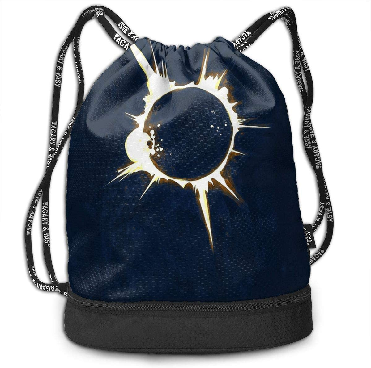 Homlife Multifunctional Drawstring Backpack Yoga Runner Daypack Shoe Bags with Eclipse Funny Logo for Sports Travel Portable Bundle Backpack