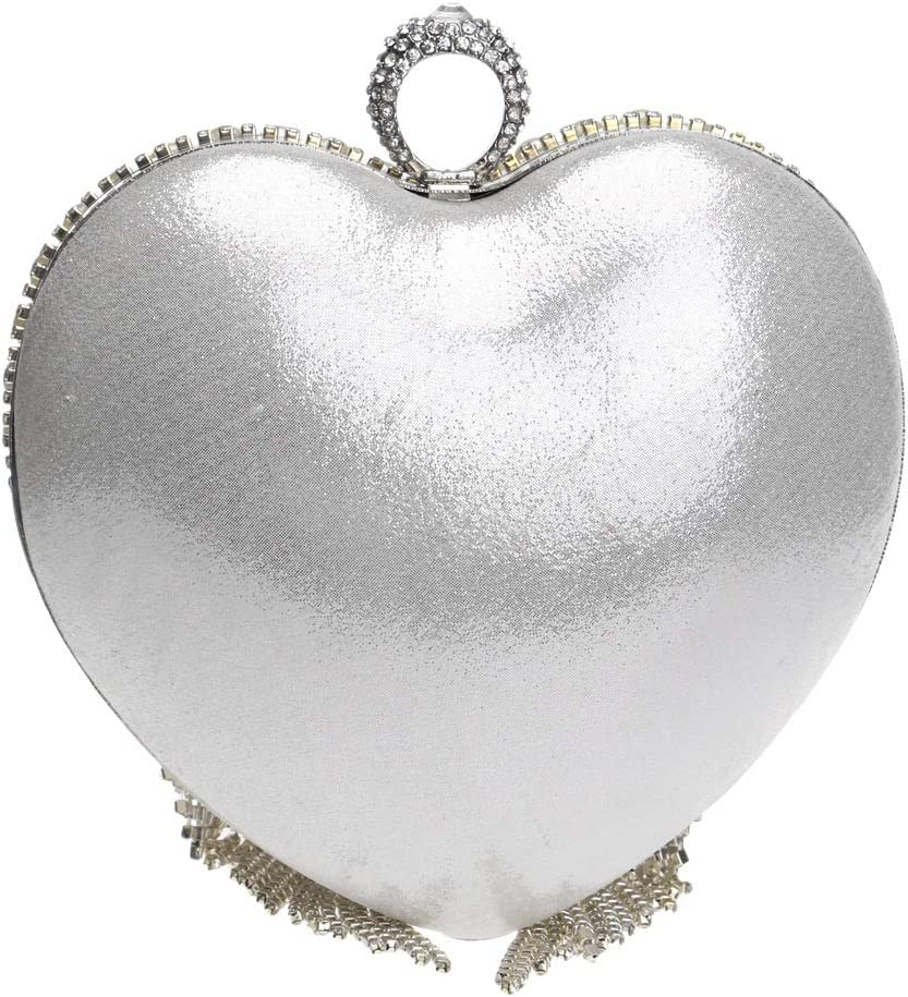 Bridal Clutch Purse Heart-Shaped Glitter Pearl Beaded Rhinestone Tassel Womens Bag Clutch for Purse for Prom Night Out Party for Get Together Frosted Handbag Party Color : Gold