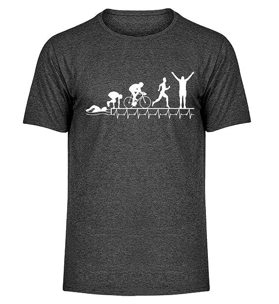 Shirtee Triatlón - Heartbeat - Camisa de Hombre de la mélange: Amazon.es: Ropa y accesorios