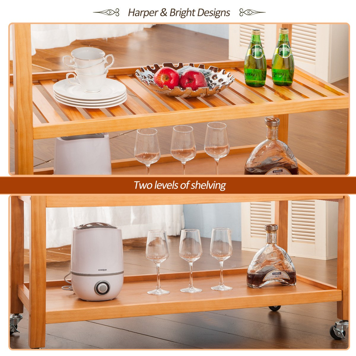 Harper&Bright Designs with Drawers & Shelves (Walnut) Kitchen Dining Trolley Cart by Harper&Bright Designs (Image #4)