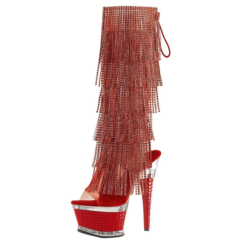 4d4fd3cbc86 Amazon.com   Womens Red Fringe Boots Rhinestone Shoes Knee High ...