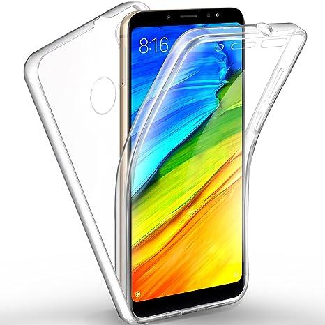 AROYI Funda Xiaomi Redmi Note 5, Ultra Slim Doble Cara Carcasa Protector Transparente TPU Silicona + PC Dura Resistente Anti-Arañazos Protectora Case ...