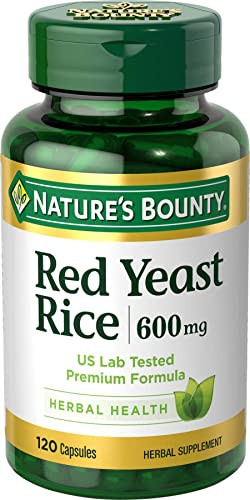 Nature s Bounty Red Yeast Rice Pills and Herbal Health Supplement, Dietary Additive, 600mg, 120 Capsules