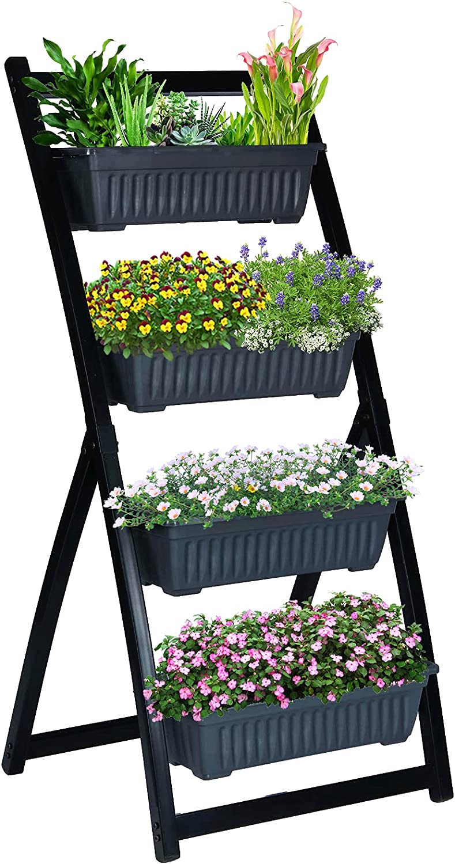 KINGSO Vertical Raised Garden Bed 4Ft Freestanding Elevated Garden Planters Boxes 4 Tier with Container Boxes Vertical Planter Boxes for Herb Flower Vegetable Balcony Outdoor Indoor