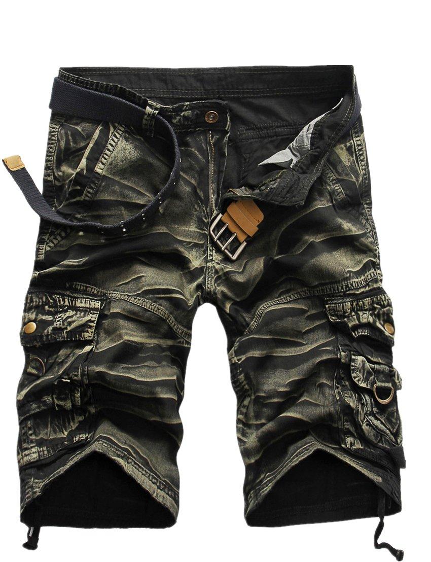 GUNLIRE Mens Army Green Camo Cargo Shorts Twill Multi Pockets Loose Fit Shorts for Men, 34, Army Green Camo