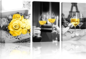 Red Wine Glass Yellow Rose Kitchen Wall Art Canvas for Dining Room Paris Decor Eiffel Tower Decor Abstract Black and White Paintings Prints Pictures Framed Artwork for Home Kitchen Bar Decorations