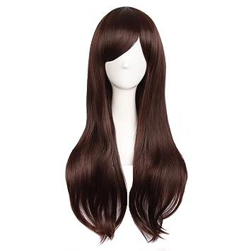 """MapofBeauty 28""""/70cm Women Side Bangs Long Curly Hair Cosplay Wig(Dark Brown"""