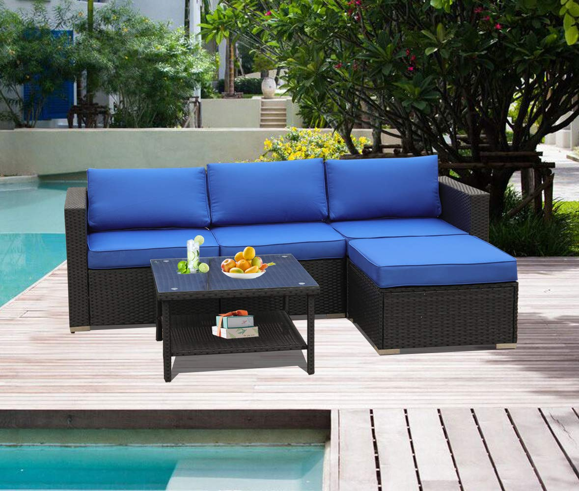 Patio Sofa Furniture Garden Rattan Couch 5pcs Outdoor Sectional Sofa Conversation Set Royal Blue Cushion Black Wicker