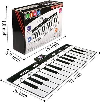 Magicfun Tapis de Piano Musical, 24 Touches de Piano Tapis de Jeu avec 8 Modes, Tapis de Danse Pliable Grand Taille(180cm*74cm)