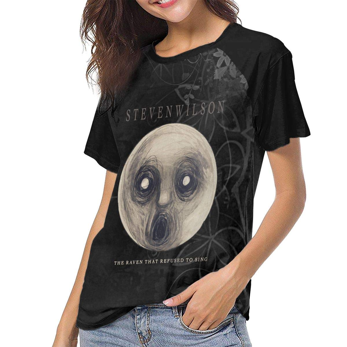 Mabb Steven Wilson The Raven That Refused to Sing Womens Short Sleeve Raglan Baseball T-Shirts Black