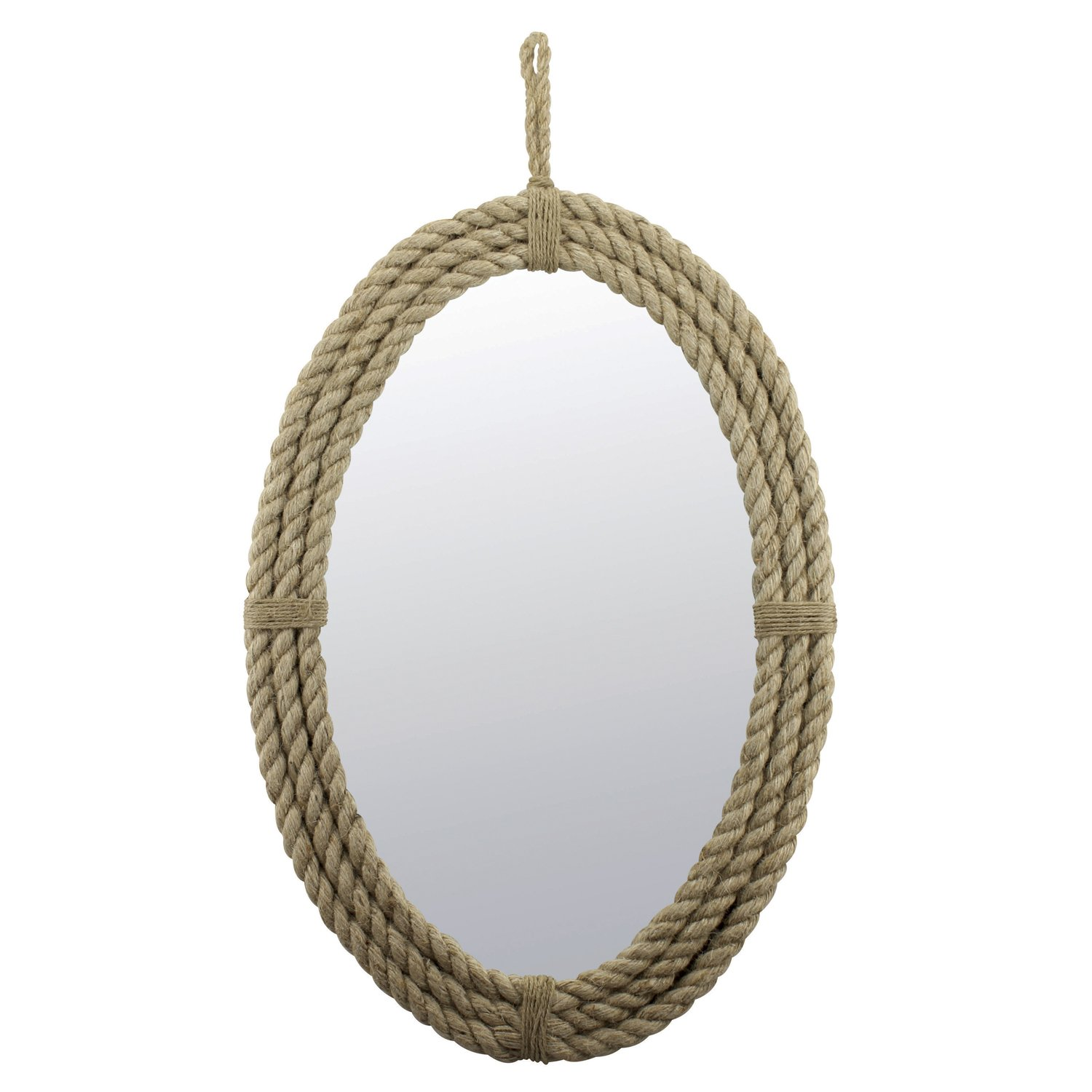 Stonebriar Decorative Oval Rope Mirror with Hanging Loop, Unique Wall Décor