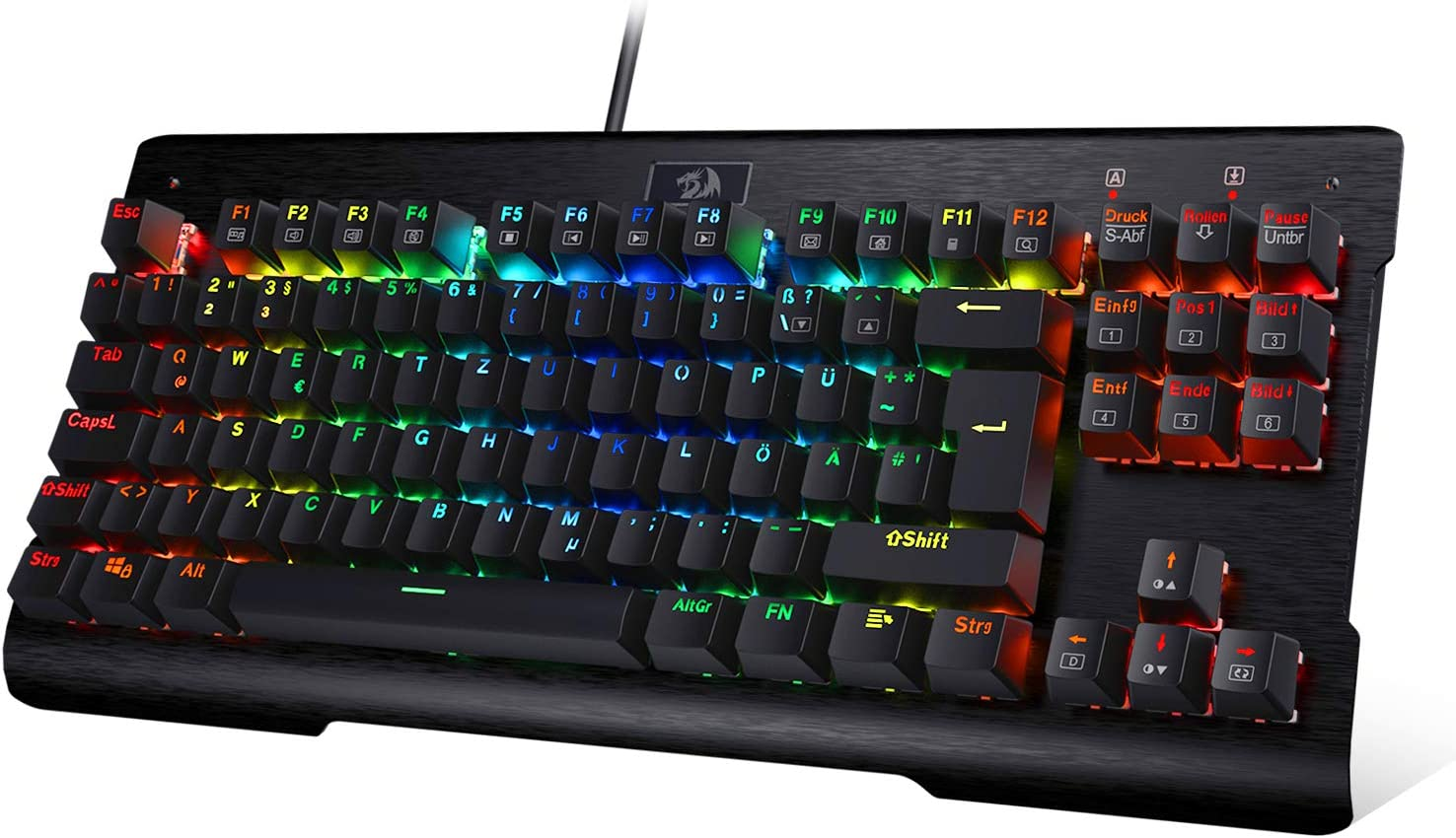 REDRAGON K561 - Teclado mecánico para juegos RGB LED con iluminación mecánica e interruptor azul para PC Gaming 87 teclas diseño compacto negro DE ...