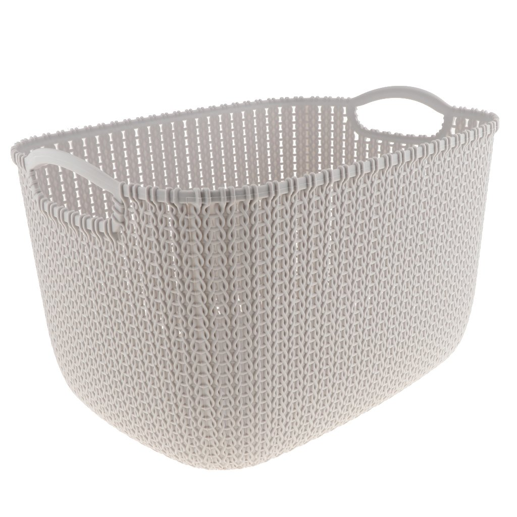 Baoblaze Various Plastic Storage Basket Box Bin Container Organizer Toys Clothes Laundry Home Holder, Woven Design - Beige L