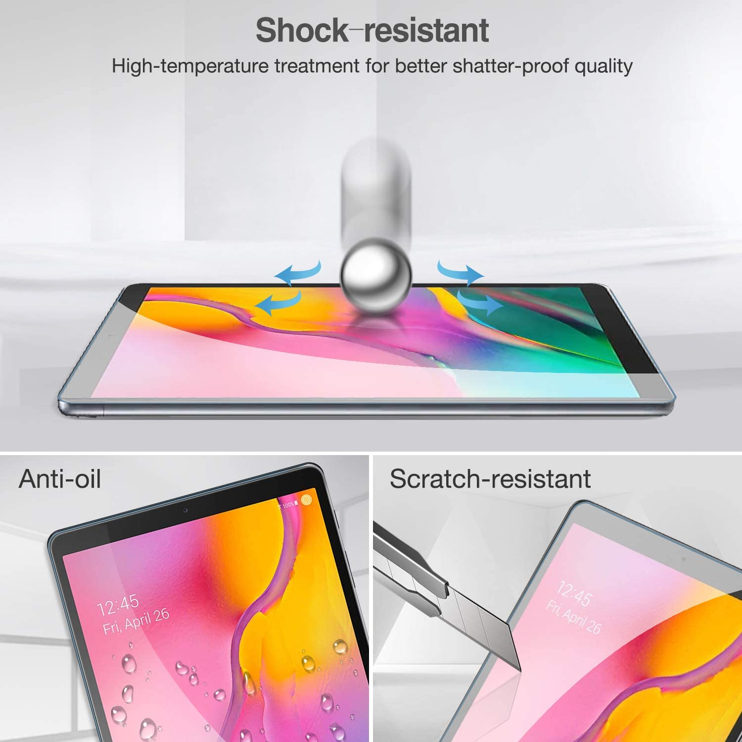 ProCase Galaxy Tab A 10.1 2019 Screen Protector SM-T510 T515 T517 Tempered Glass Screen Film Guard 9H Hardness Screen Protector for 10.1 Inch Galaxy Tab A Tablet 2 Pack