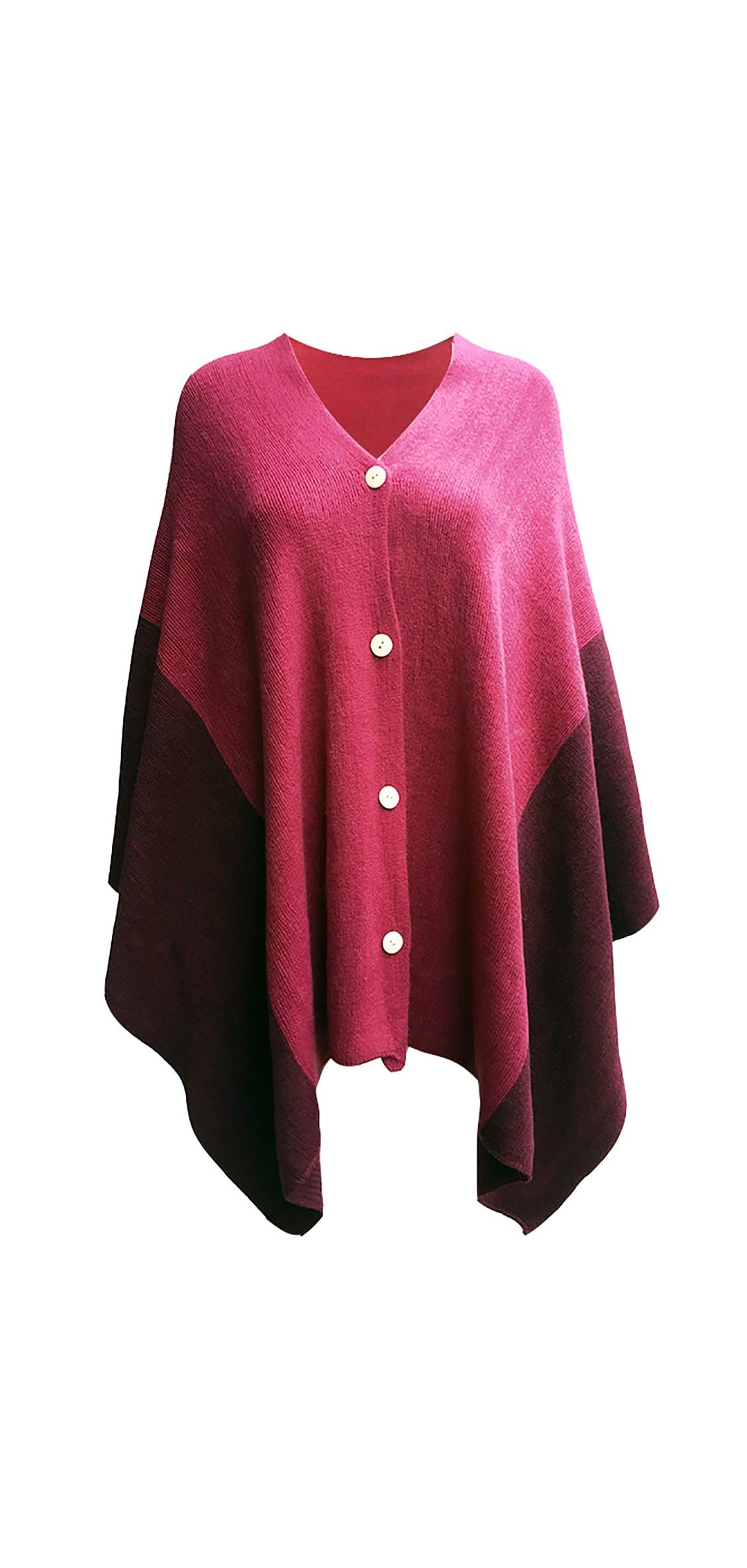 Women's Vintage Knitted Poncho Shawl Cape Button Cardigan Scarf