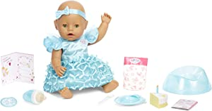 Baby Born Interactive Baby Doll Party Theme – Green Eyes with 9 Ways to Nurture, Multicolored (917448)