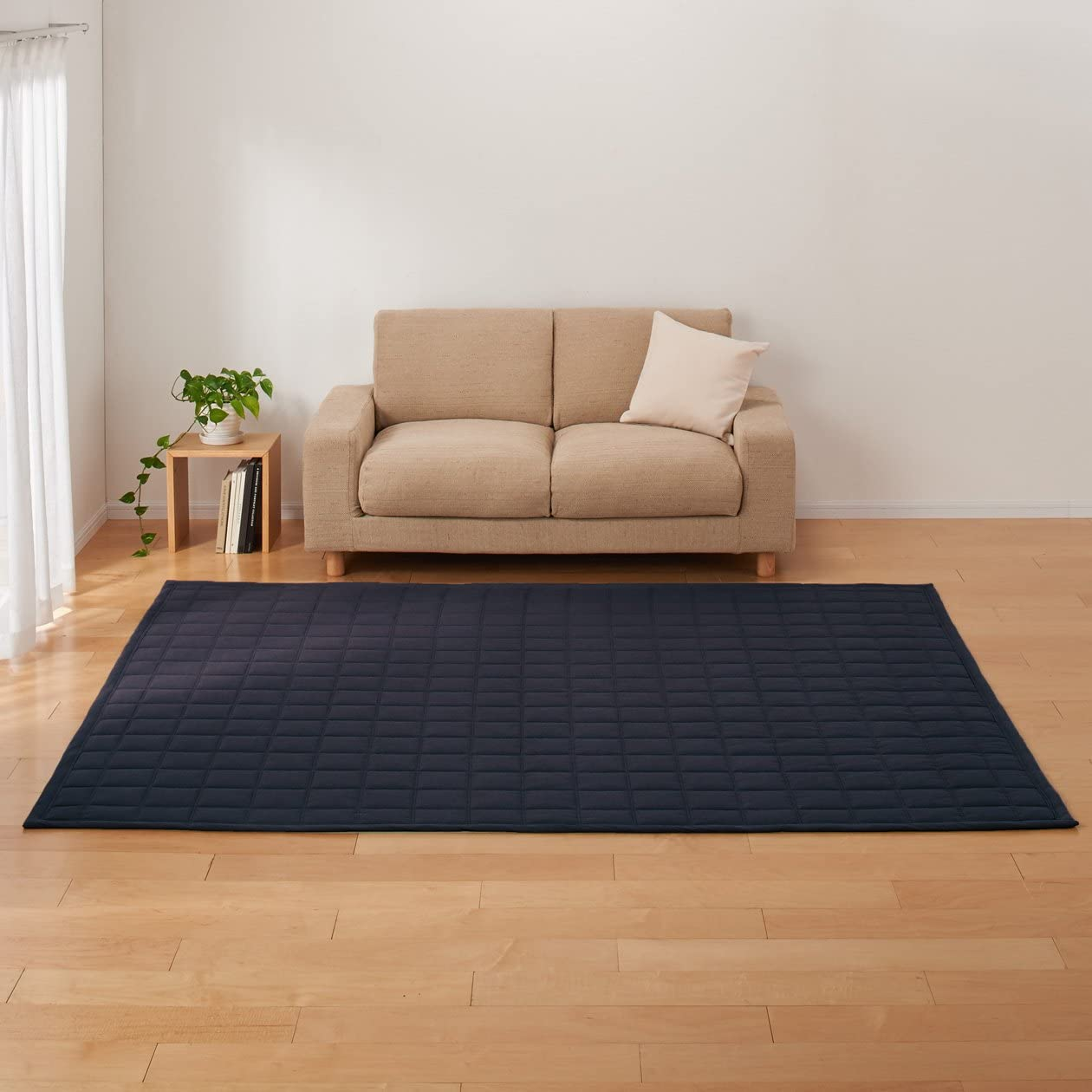Muji algodón Nanako Tejido antibacteriano lavable acolchado alfombra azul marino 205 × cm alfombra: Amazon.es: Hogar