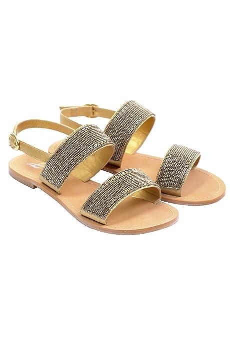 Tiras Doradas Zapatos es Gold Complementos Sadalia Amazon Amichi Talla 42 Y Mujer q5ZSEw7A