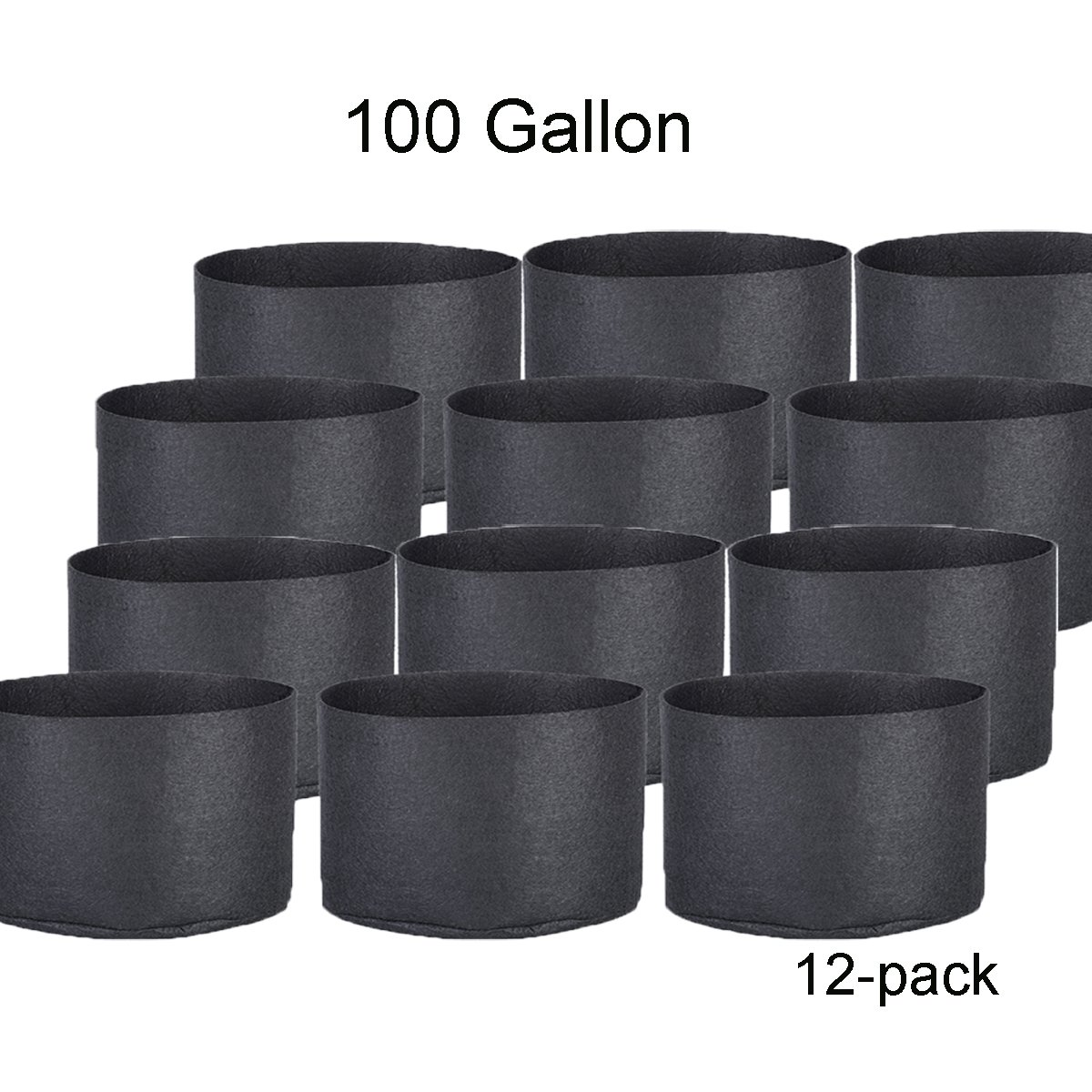 Oppolite 1 2 3 5 7 10 15 20 25 30 Gallon Round Fabric Fabric Aeration Pots Container for Nursery Garden and Planting Grow (100 Gallon/12 Pack)