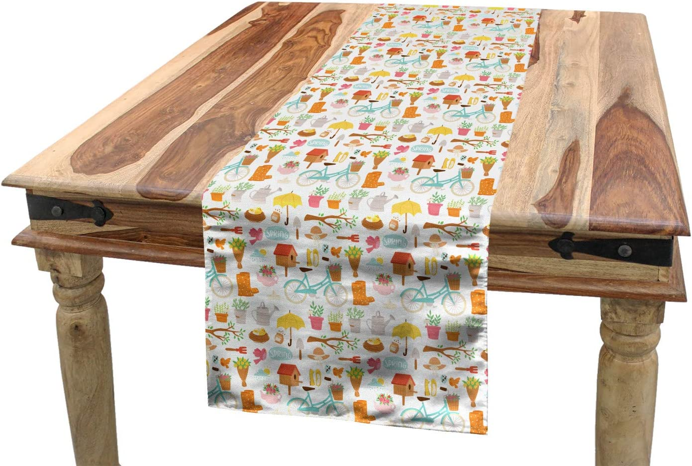 Amazon Com Ambesonne Birdhouse Table Runner Repetitive Garden Items Cartoon Of Nest Bicycle Minimal Dining Room Kitchen Rectangular Runner 16 X 72 Apricot And Multicolor Home Kitchen