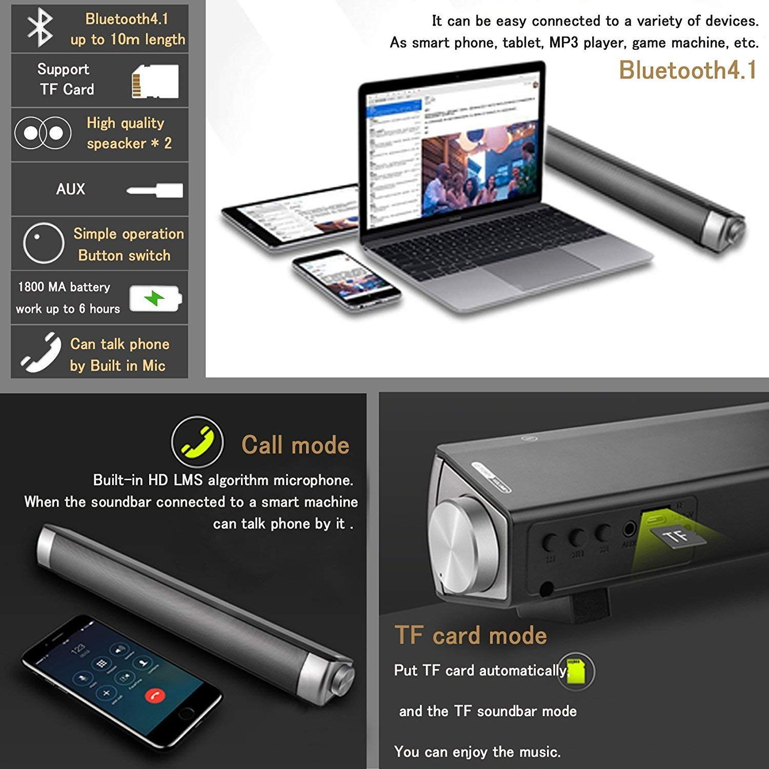 Sound Bar TV Soundbar Wired and Wireless Bluetooth Home Theater TV Speaker, Surround Sound Bar for TV, PC, Cellphone (Only Fit for AUX & RCA Audio output tv) by FoolHome (Image #5)