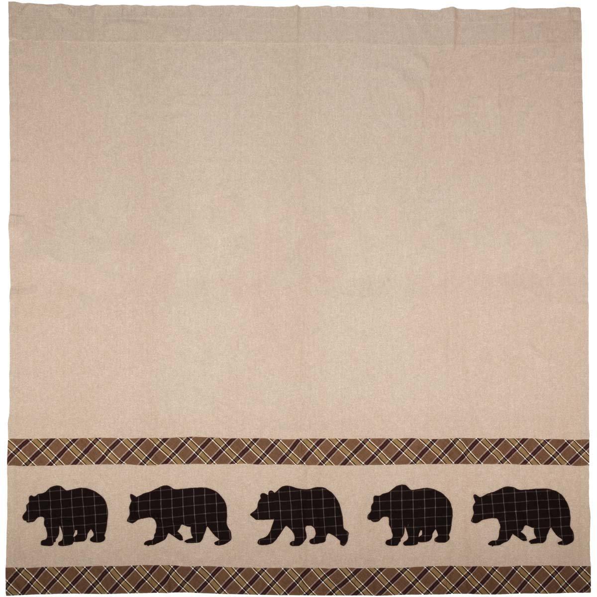VHC Brands Rustic & Lodge Bath - Wyatt Tan Bear Shower Curtain,