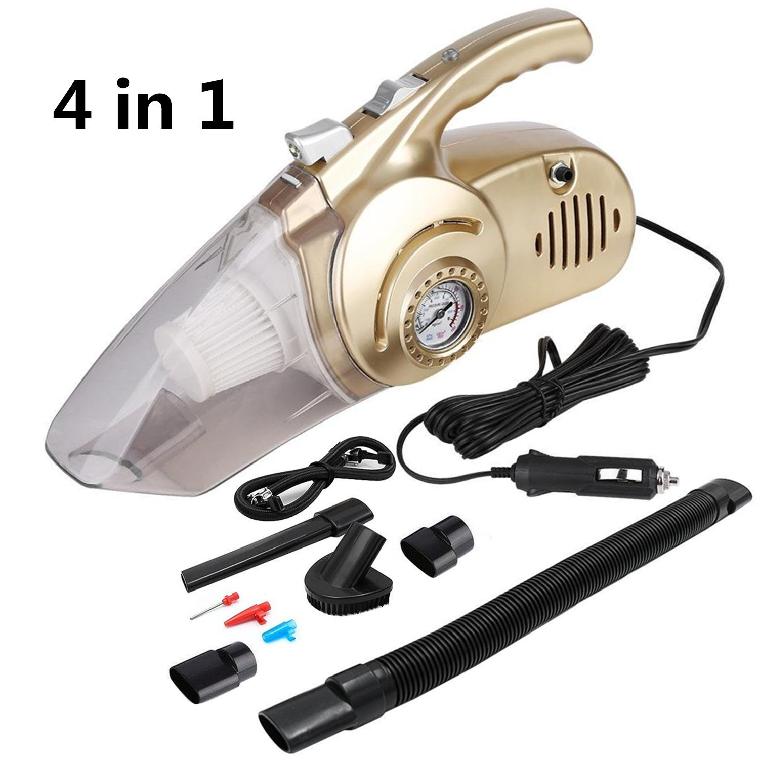 Starlotus 4 IN 1 Multifunctional Car Vacuum Cleaner with Tire Inflation Pump & Air Pressure Tire Gauge & LED Lighting,DC12V 120W Stainless Steel HEPA Filter 16.4ft Power Cord for Handheld Wet&Dry Use
