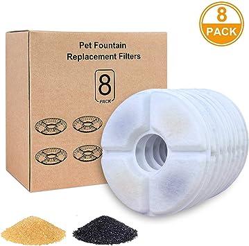 Iseebiz Pack de 8 Filtros Fuente Gatos Filtro de Carbón para ...