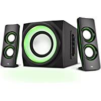 Cyber Acoustics Bluetooth Speakers with LED Lights – The Perfect Gaming, Movie, Party, Multimedia 2.1 Subwoofer Speaker System (CA-SP34BT)