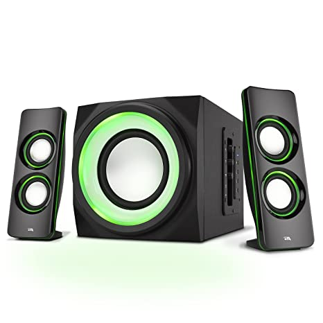 Amazon.com: Cyber Acoustics Bluetooth Speakers with LED Lights – The  Perfect Gaming, Movie, Party, Multimedia 2.1 Subwoofer Speaker System  (CA-SP34BT): ...