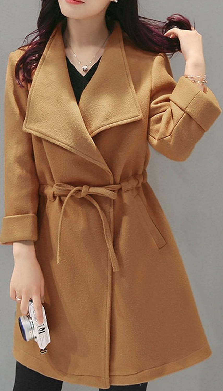 S/&S-women Candy Colors Wool Wrap Coat Wide Lapel Drawstring Belted Open Overcoat
