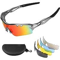 Flintronic Gafas de Sol Polarizadas, Gafas de Ciclismo con 5 Lentes Intercambiables UV400 Bicicleta Montaña, Gafas de…