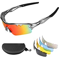 Flintronic Gafas de Sol Polarizadas, Gafas de Ciclismo con 5 Lentes Intercambiables UV400…