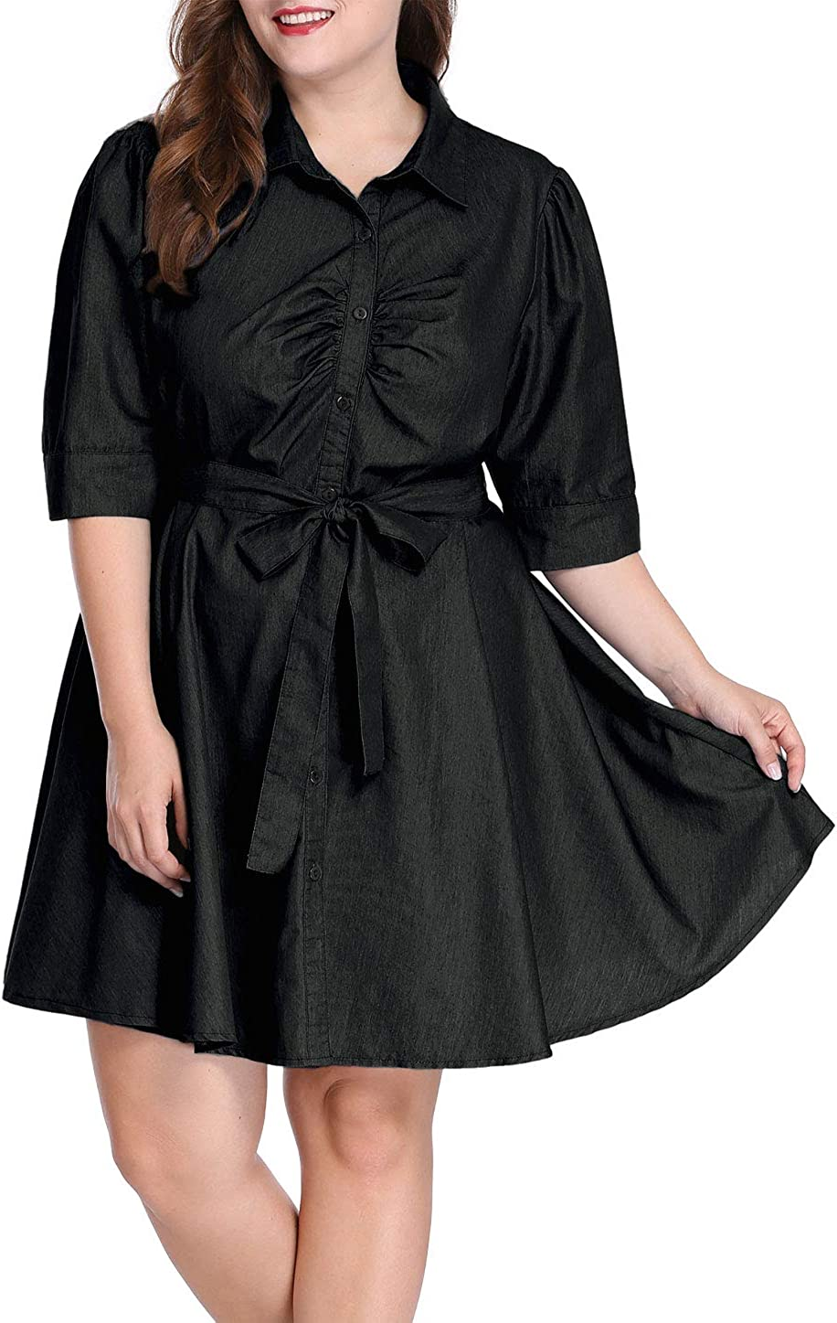 uxcell Womens Plus Size Roll Up Sleeves Above Knee Belted Denim Shirt Dress