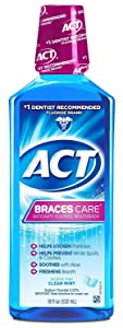ACT Braces Care Ant-Cavity Fluoride Mouthwash, Clean Mint, 18 Ounce (Pack of 3)