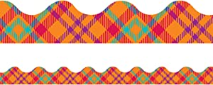 Eureka Multicolor Plaid Bulletin Board Trim and Classroom Decoration Strips, 12pcs, 2.25'' x 37''