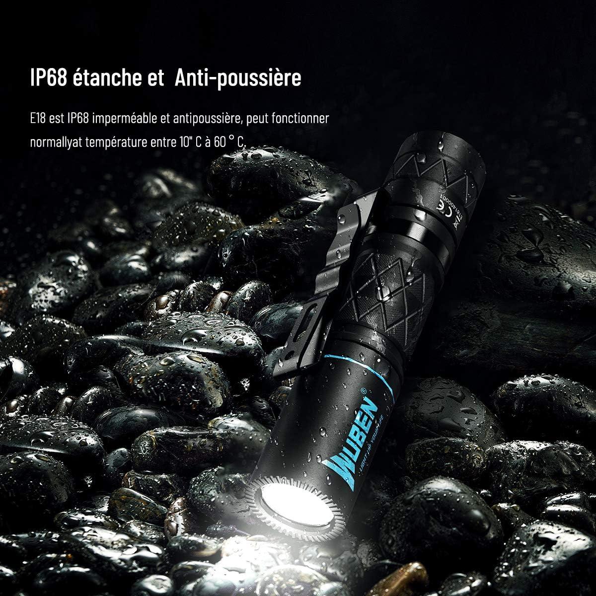 WUBEN E18 Lampe Torche LED CREE XP-G3 LED Torche Lampe de Poche Ultra Puissante 180 LM /étanche Lampe Torche avec 4 Modes pour Camping Randonn/ée Situations durgence AA batteries incluse
