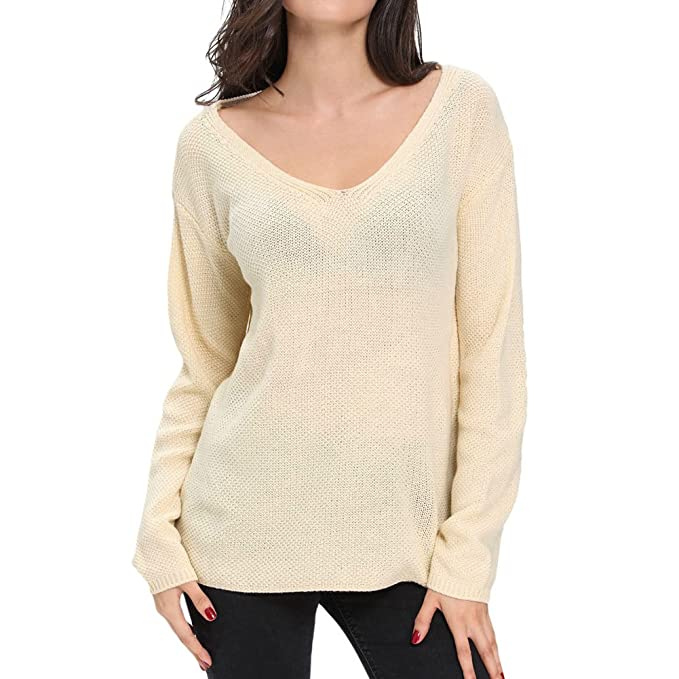 Hzjundasi Mujer Suéter camiseta Manga larga Prendas de punto Suelto Blusa Tops V-cuello Sólido