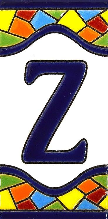 """Image ofLetreros con numeros y letras en azulejo de ceramica policromada, pintados a mano en técnica cuerda seca para placas con nombres, direcciones y señaléctica. Texto personalizable. Diseño MOSAICO MEDIANO 10,9 cm x 5,4 cm. (LETRA """"Z"""")"""