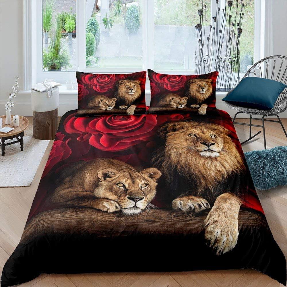Erosebridal Lion Rose Duvet Cover Sets Twin Size, Animal Floral Print Comforter Cover Nature Theme Design Bedding Set for Kids Youth Adult, Modern Brown Lion Quilt Cover Decor Room