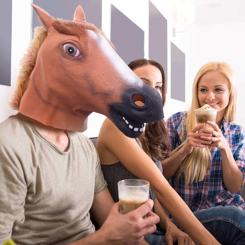 Maschera Cavallo Maschera Animale Maschera Adulti Maschera Animale per Adulti Maschera Halloween Festa in Cosplay Maschera Lattice Maschere Lattice Cane Cavallo Brown