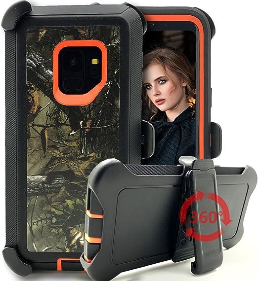 Galaxy S9 Coque, Kudex Heavy Duty Defender antichoc Full Body protection Camo Motif arbre PC rigide et souple en silicone rigide robuste Coque W/clip ...