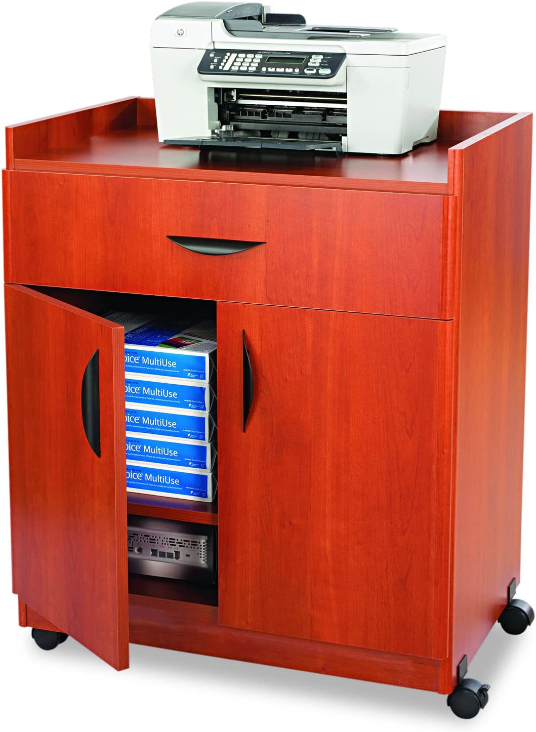 Safco Products Deluxe Mobile Machine Stand, Cherry