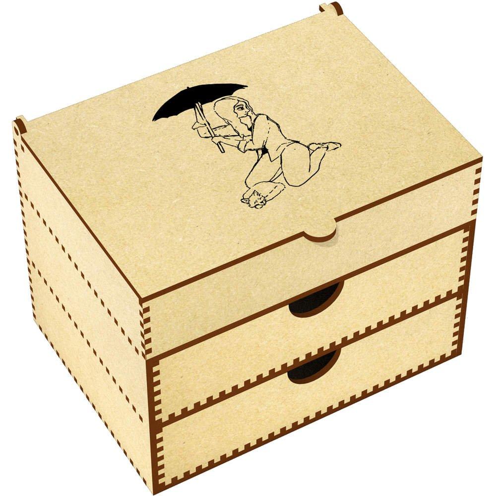 Azeeda 'Umbrella Girl & Cat' Vanity Case / Makeup Box (VC00006903)