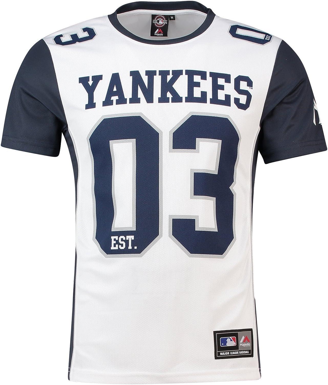 Majestic Camiseta MLB New York Yankees Dene Poly Mesh Blanco/Azul: Amazon.es: Ropa y accesorios