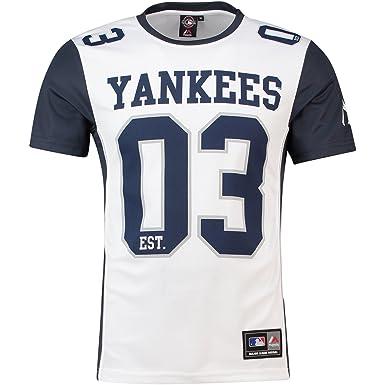 Majestic Camiseta MLB New York Yankees Dene Poly Mesh Blanco Azul Talla   XXL ( 6a577c7756b