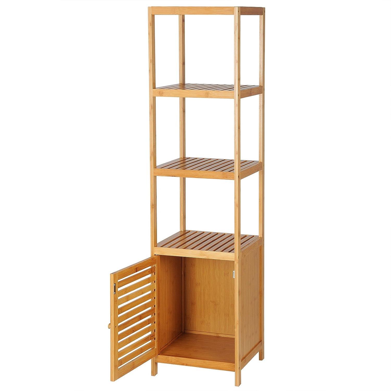 WOLTU RG9289 Mensola Bagno Scaffale bambù 4 Ripiani Libreria Fioriera Decorazione per Balcone 36x33x140cm