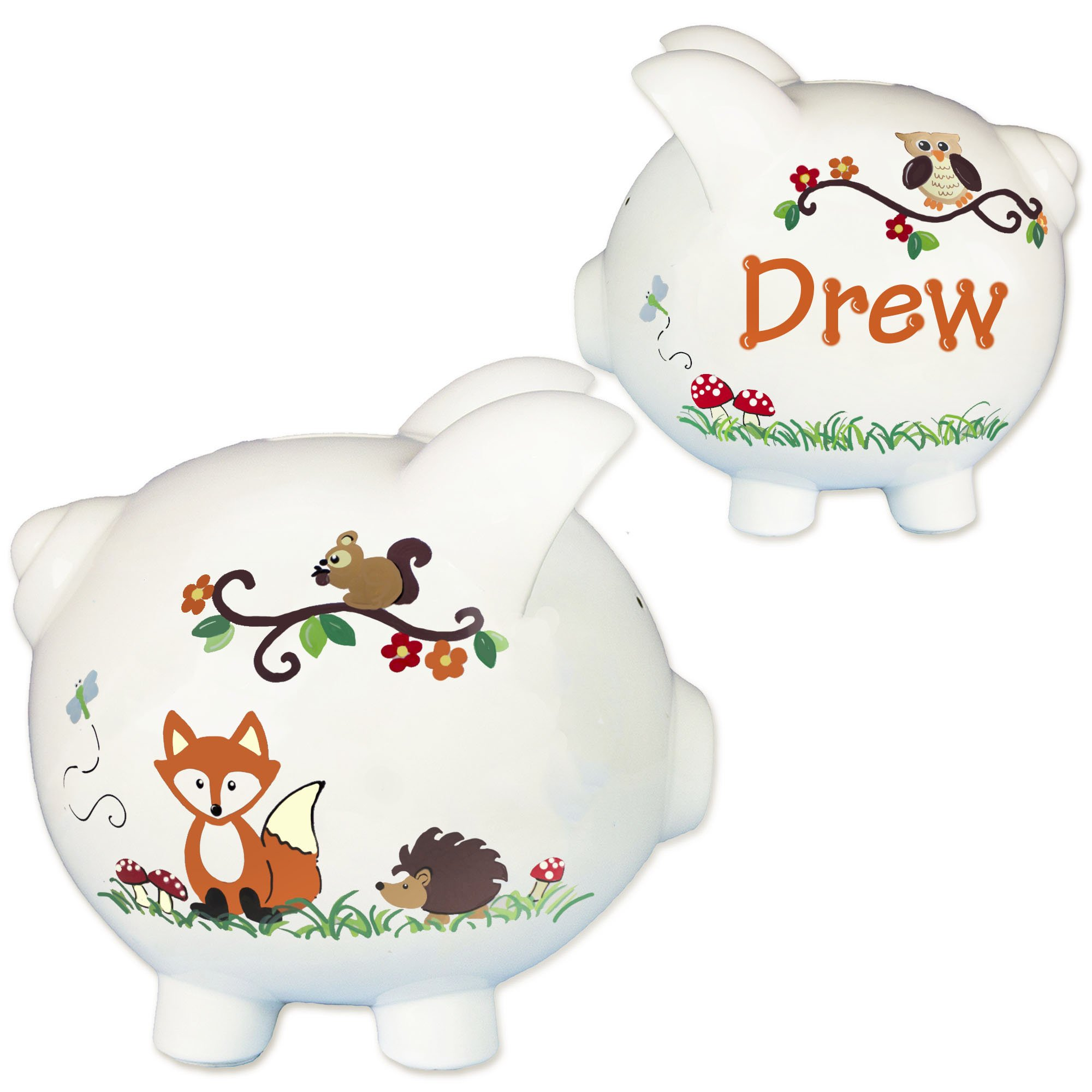 Personalized Woodland Animals Hand Painted Piggy Bank